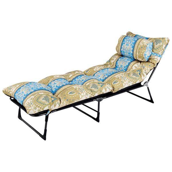 枕・ごろ寝布団付き リクライニングベッド 〔セミシングル ブルー系〕 6段階 6段階 折りたたみ スチールパイプ製フレーム 送料無料 いまトクストアキャンペーン