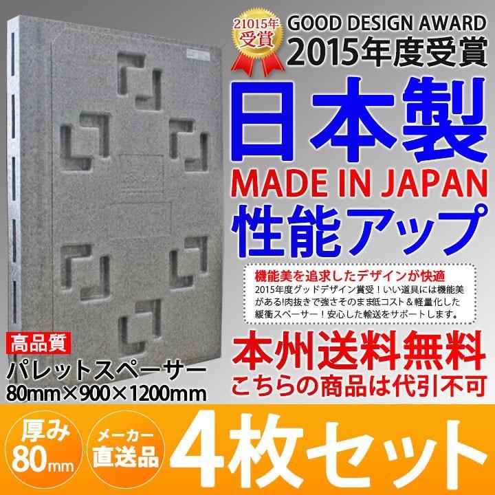 メーカー直送 日本製パレットスペーサー 厚み80mm 厚み80mm 厚み80mm 900×1200mm ロジボード 4枚セット トラック パレットスペーサー マルイチ 送料無料 229