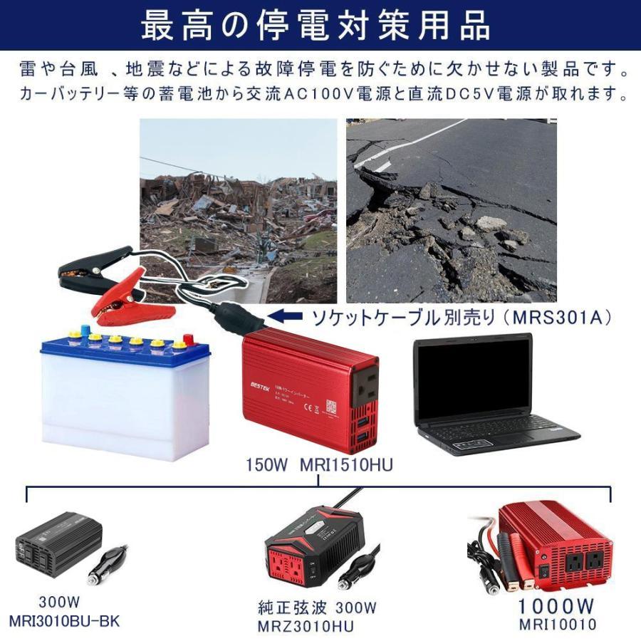 BESTEK カーインバーター 150W シガーソケット 車載充電器 超小型USB 2ポート ACコンセント 1口 DC12VをAC100Vに変換 MRI1510HU-RD|bestek|05