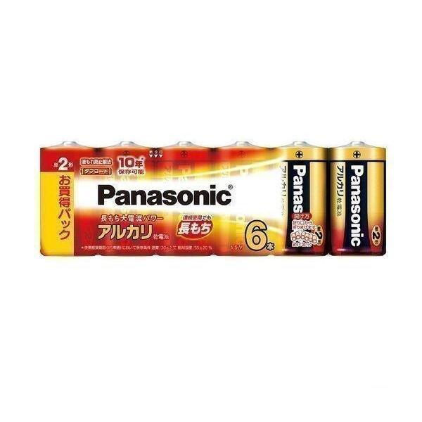 パナソニック 返品交換不可 単2形アルカリ乾電池 6本パック 希望者のみラッピング無料 LR14XJ Panasonic 6SW