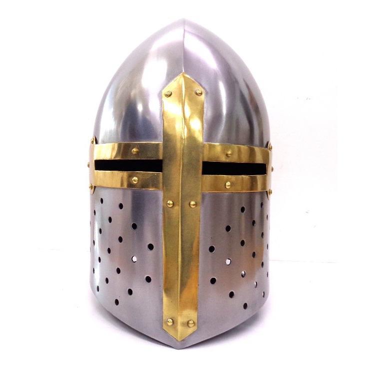 中世 16ゲージスチール製 シュガールーフ ヘルム テンプル騎士団 コットンライナー付き