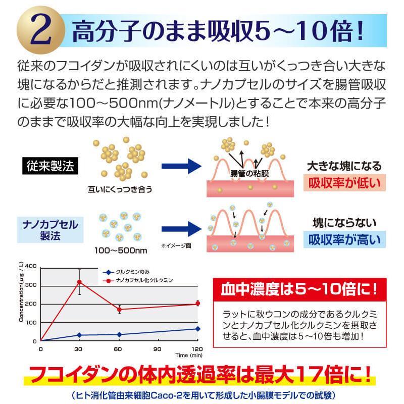フコイダン 吸収5倍 フコイダンライフ・ナノ 3箱セット フコイダンエキス 低分子 高分子 730mg ガニアシ bh-labo24 07