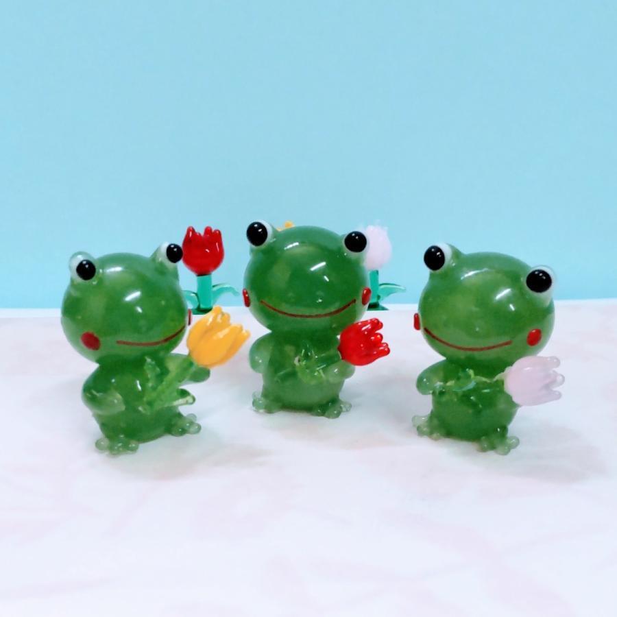 ガラス細工 カエルとチューリップ ミニチュア 置物 雑貨 小物 動物 蛙 花