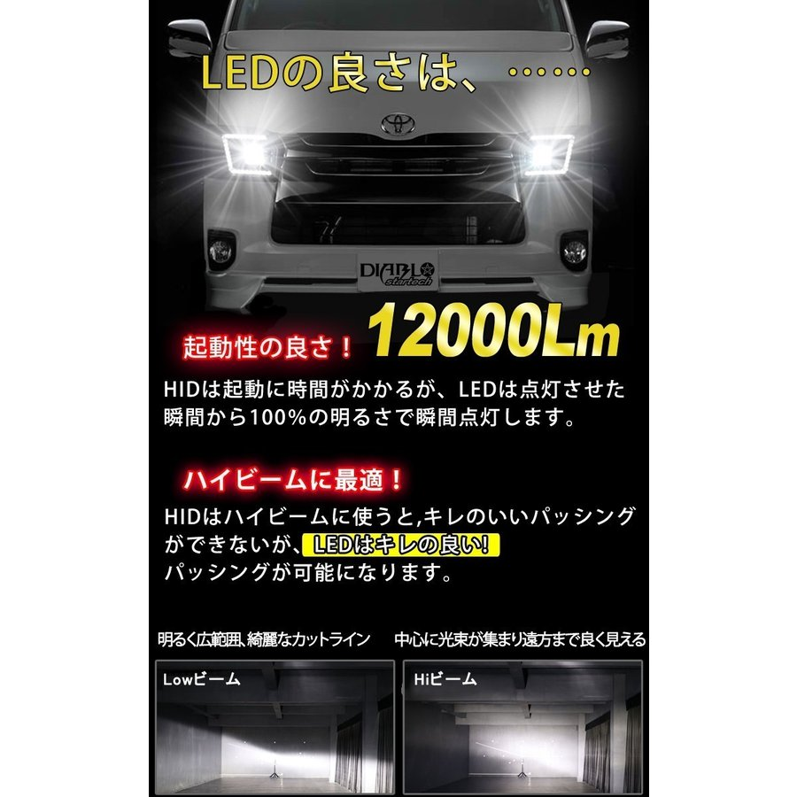 業界最小 アクア H23.12〜H29.06 ロービーム H11 LEDヘッドライト DIABLO startech LEDバルブ 12000ルーメン 車検対応 1年保証 2個セット bigkmartjapan 09