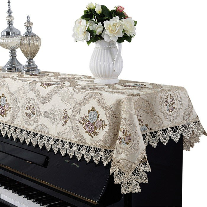 ピアノトップカバー ピアノカバー アップライトピアノ用ピアノトップカバー アップライト ピアノカバー シャンペン200cm x 90cm 刺繍 お洒落 上品 レース柄|bigwind