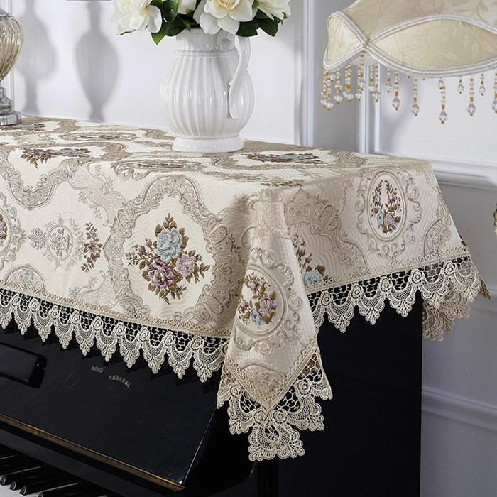 ピアノトップカバー ピアノカバー アップライトピアノ用ピアノトップカバー アップライト ピアノカバー シャンペン200cm x 90cm 刺繍 お洒落 上品 レース柄|bigwind|02