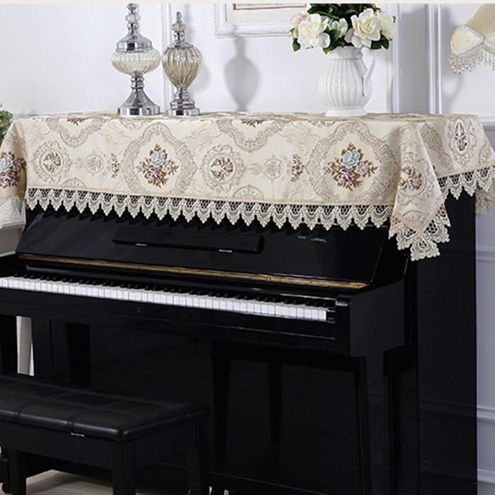 ピアノトップカバー ピアノカバー アップライトピアノ用ピアノトップカバー アップライト ピアノカバー シャンペン200cm x 90cm 刺繍 お洒落 上品 レース柄|bigwind|03