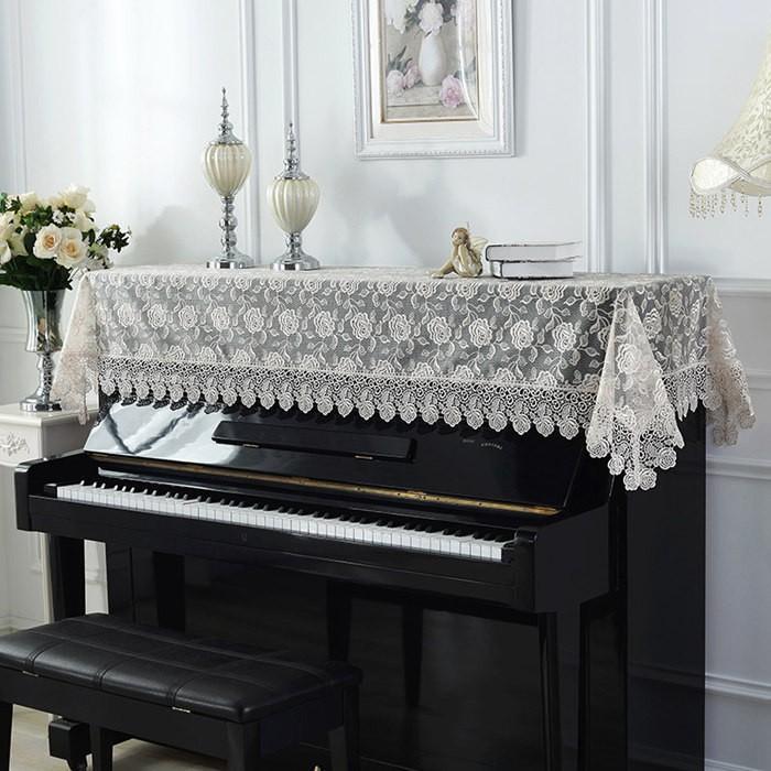 ピアノトップカバー ピアノカバー アップライトピアノ用ピアノトップカバー アップライト ピアノカバー 200cm x 90cm シンプル 刺繍 お洒落 上品 レース柄 bigwind 02