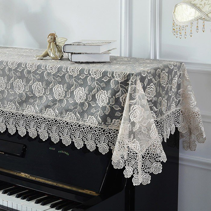ピアノトップカバー ピアノカバー アップライトピアノ用ピアノトップカバー アップライト ピアノカバー 200cm x 90cm シンプル 刺繍 お洒落 上品 レース柄 bigwind 04