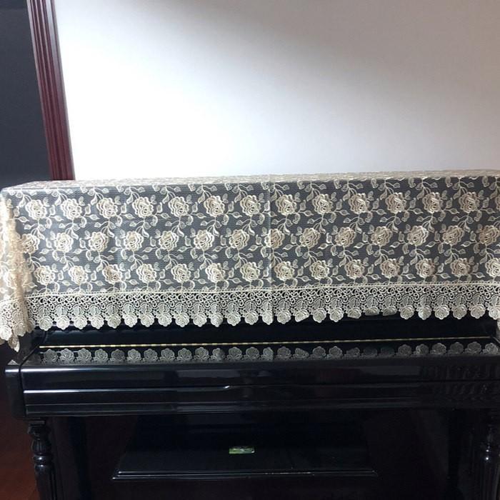 ピアノトップカバー ピアノカバー アップライトピアノ用ピアノトップカバー アップライト ピアノカバー 200cm x 90cm シンプル 刺繍 お洒落 上品 レース柄 bigwind 06