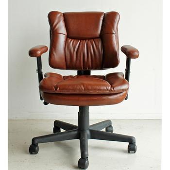 レトロ気分でデスクワーク デスクチェア / オフィスチェア 社長椅子 合皮 レトロ 合成皮革 ヴィンテージ レザー レザー ruk 1