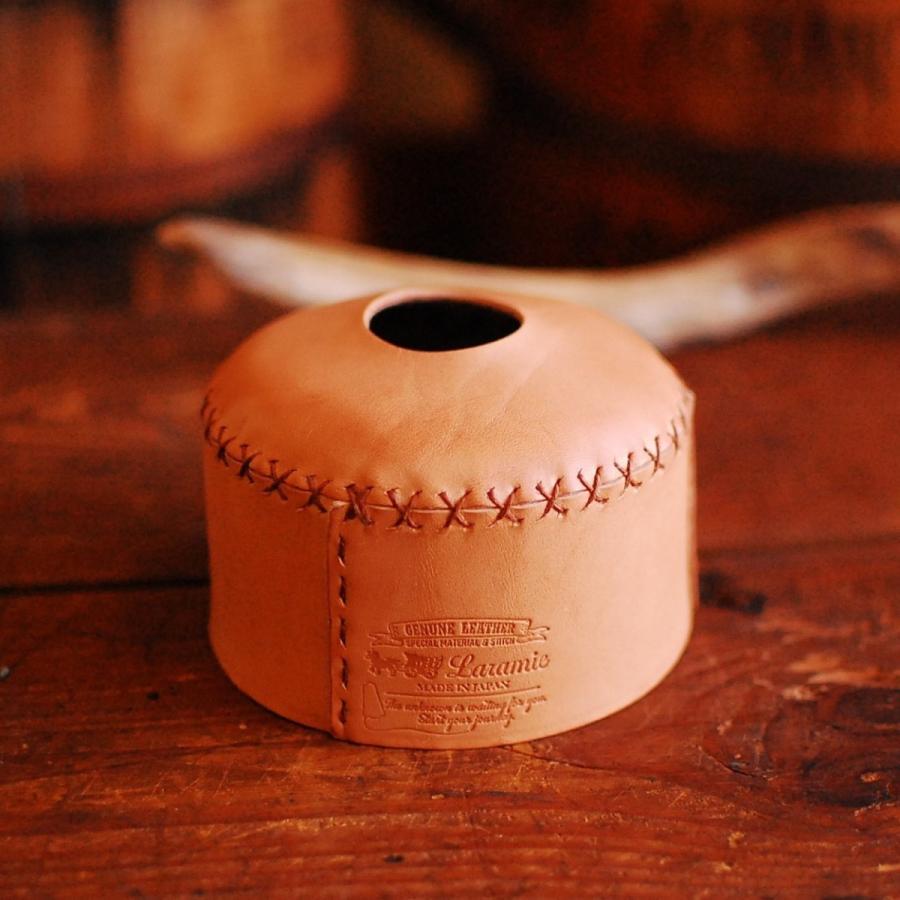 本革 OD缶カバー 230/250サイズ ナチュラル ハンドメイド 日本製 アウトドア ガス缶対応 ヌメ革 エイジング 手縫い ランタン バーナー bike-briller 11