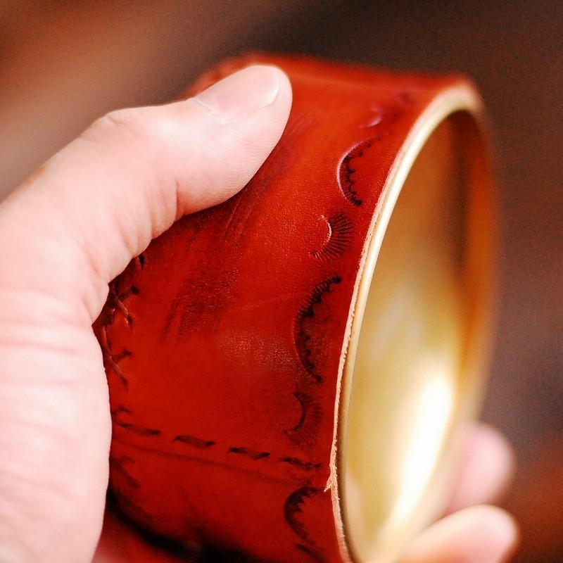 本革 OD缶カバー 110サイズ 茶 ダメージ加工 簡易防滴 アウトドア ガス缶対応 店舗什器 エイジング  ランタン バーナー bike-briller 03