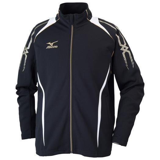 MIZUNO ミズノ 32JC6010 ウォームアップシャツ 長袖 MCライン メンズ ブラック×ホワイト XLサイズ