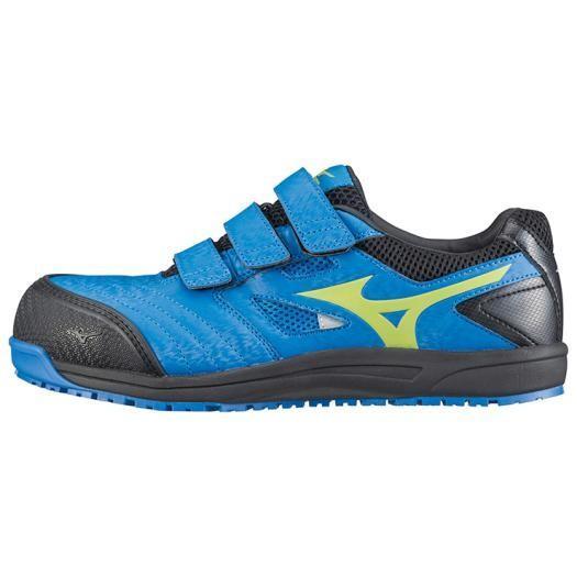MIZUNO ミズノ C1GA1801 オールマイテイFF/安全靴 作業靴 スニーカー メンズ ブルー×イエロー×ブラック 25.5cm