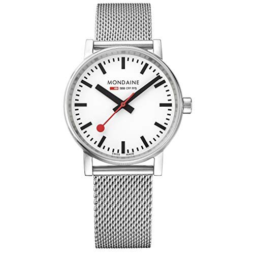 Mondaine SBB Swiss-Quartz Watch with Stainless-Steel Strap, Silver, 18 (Model: MSE.35110.SM) 並行輸入品|birmingham-ex