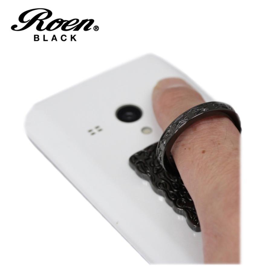 スマホリング スマートフォンリング メンズ アクセサリー Roen ロエン ブラック スタンド バンカー ホールド リング タブレット アイフォン ギャラクシー|bj-direct|02