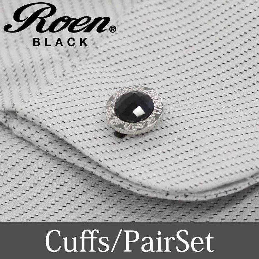 Roen Black ロエン アクセサリー メンズ カフス シャツ スーツ シルバー キュービック ジルコニア ギフト プレゼント 就職祝い|bj-direct|02
