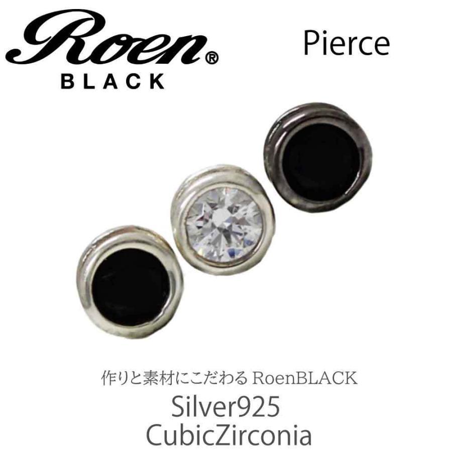 Roen Black ロエン アクセサリー メンズ ピアス シルバー ブラック キュービック ジルコニア|bj-direct|02
