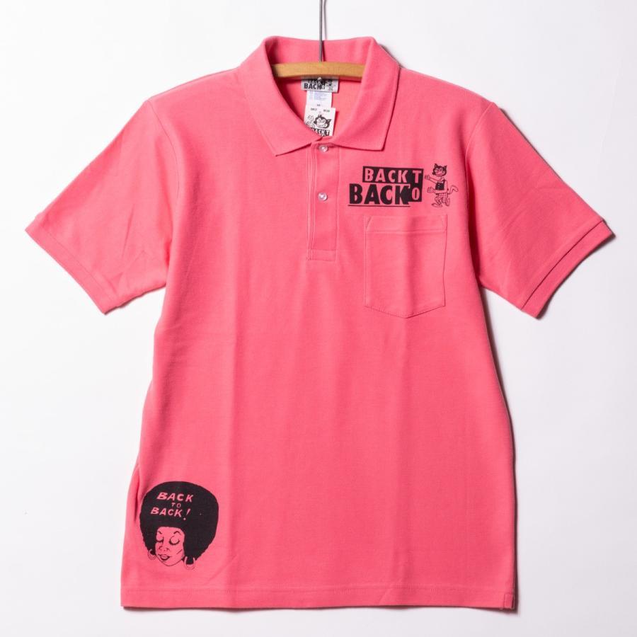 Back to Back バック・トゥ・バック オリジナル・ポケットポロシャツ ウルフ ピンク|bk2bk|02