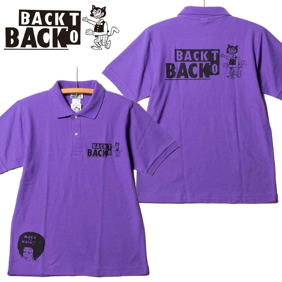 Back to Back バック・トゥ・バック オリジナル・ポロシャツ ウルフ パープル bk2bk