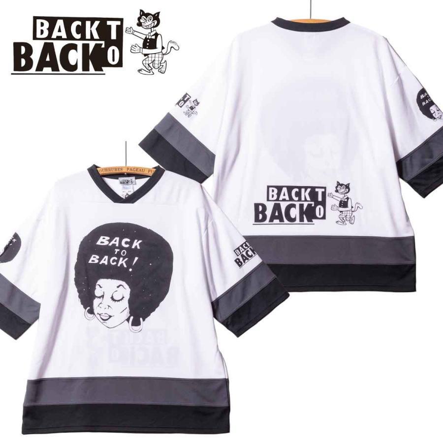Back to Back バック・トゥ・バック オリジナル・ホッケーTシャツ アフロ&ウルフ ホワイト bk2bk
