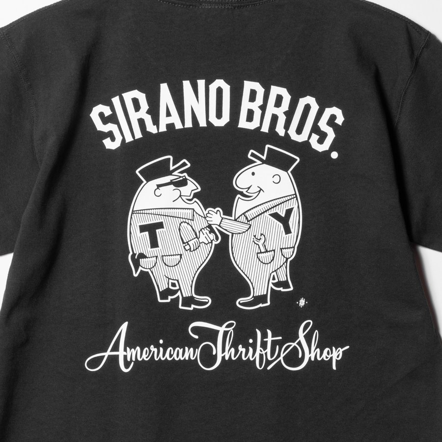 "[SIRANO BROS.] 7.1oz T-shirts ""Mr.T & Mr.Y"" ブラック Tシャツ ヘビーウェイト シラノブロス SUGI SACK|bk2bk|03"