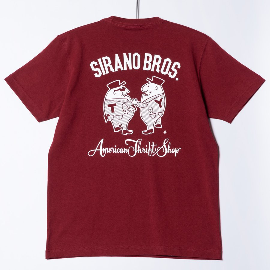 "[SIRANO BROS.] 7.1oz T-shirts ""Mr.T & Mr.Y"" バーガンディ Tシャツ ヘビーウェイト シラノブロス SUGI SACK bk2bk"