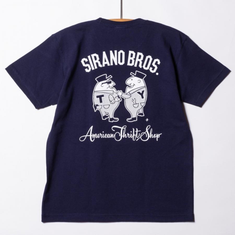 "[SIRANO BROS.] 7.1oz T-shirts ""Mr.T & Mr.Y"" ネイビー Tシャツ ヘビーウェイト シラノブロス SUGI SACK|bk2bk"