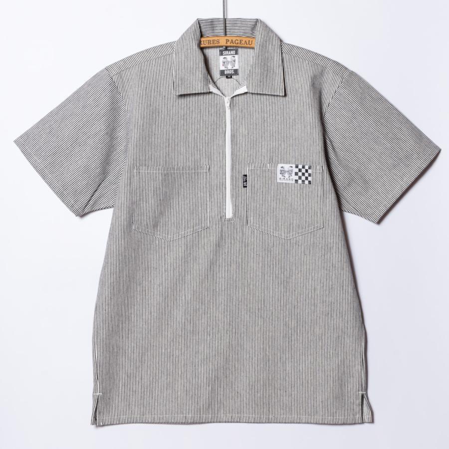 "[SIRANO BROS.] Half-zip Work Shirts ""No Idea"" ハーフジップワークシャツ ヒッコリーストライプ 半袖 シラノブロス bk2bk 02"