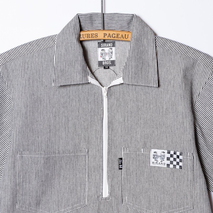 "[SIRANO BROS.] Half-zip Work Shirts ""No Idea"" ハーフジップワークシャツ ヒッコリーストライプ 半袖 シラノブロス bk2bk 03"