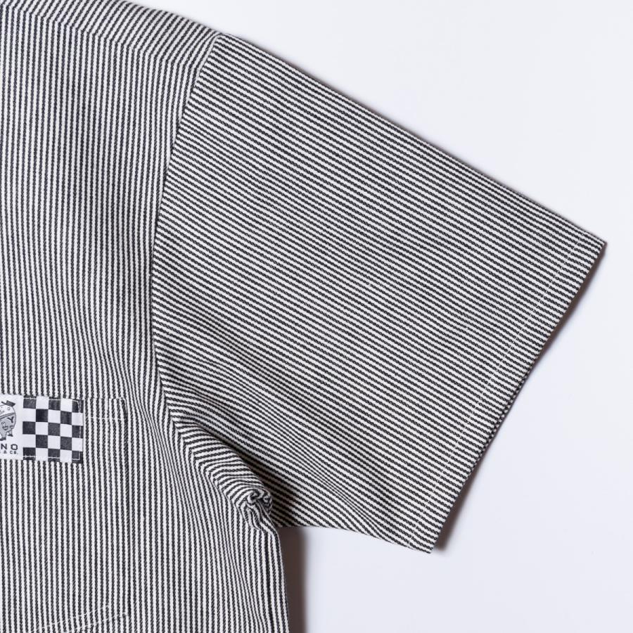"[SIRANO BROS.] Half-zip Work Shirts ""No Idea"" ハーフジップワークシャツ ヒッコリーストライプ 半袖 シラノブロス bk2bk 05"