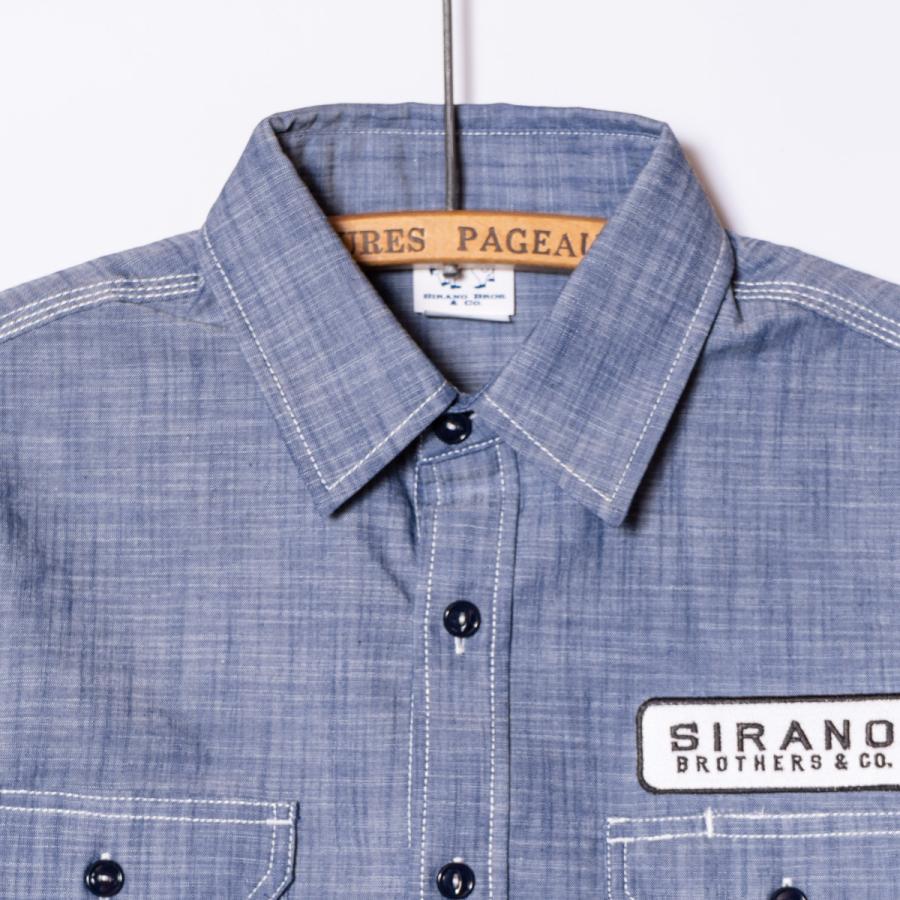 "[SIRANO BROS.] Chambray S/S Work Shirts ""Mr.T&Mr.Y"" レギュラーサイズ(M〜XL) シャンブレーワークシャツ 半袖 シラノブロス|bk2bk|03"