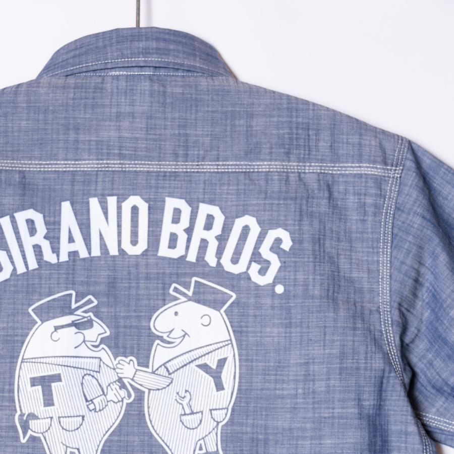 "[SIRANO BROS.] Chambray S/S Work Shirts ""Mr.T&Mr.Y"" レギュラーサイズ(M〜XL) シャンブレーワークシャツ 半袖 シラノブロス|bk2bk|08"