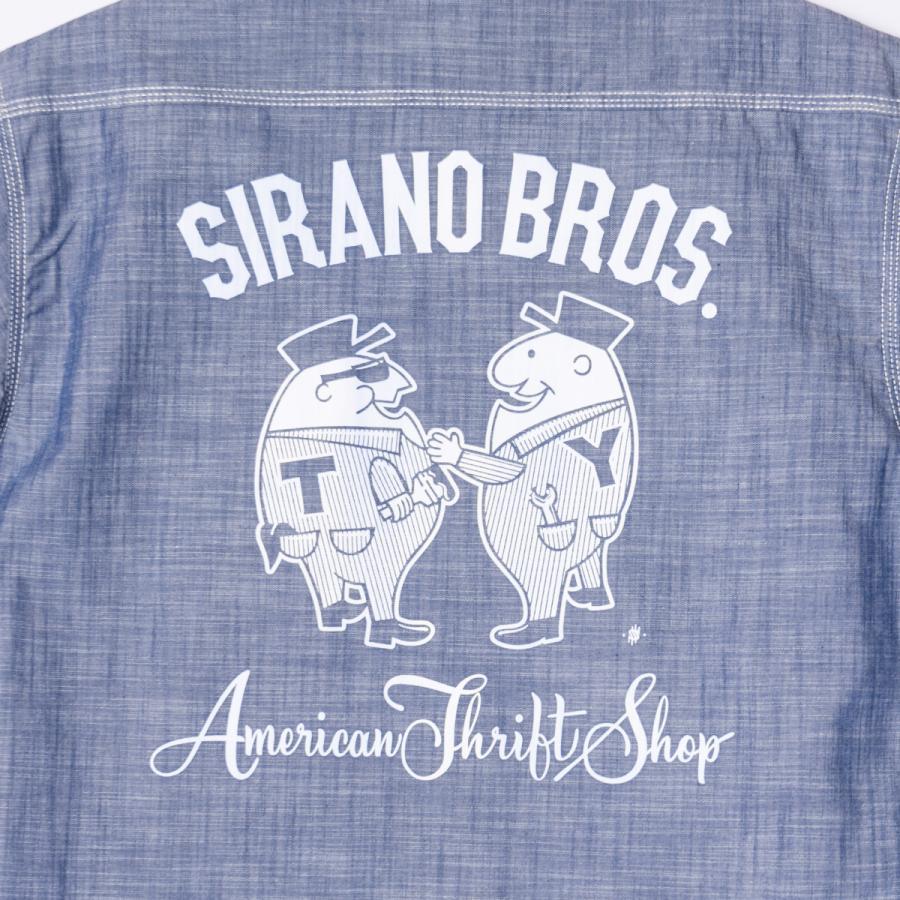"[SIRANO BROS.] Chambray S/S Work Shirts ""Mr.T&Mr.Y"" レギュラーサイズ(M〜XL) シャンブレーワークシャツ 半袖 シラノブロス|bk2bk|09"