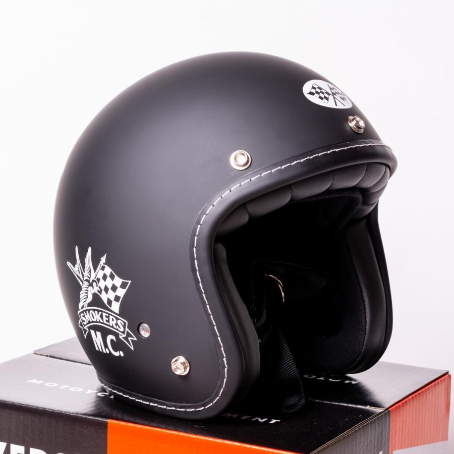 "SIRANO BROS. MOTORCYCLE EQUIPMENT - 3/4 OPEN FACE MOTORCYCLE HELMET ""SMOKERS M.C."" シラノブロス bk2bk"