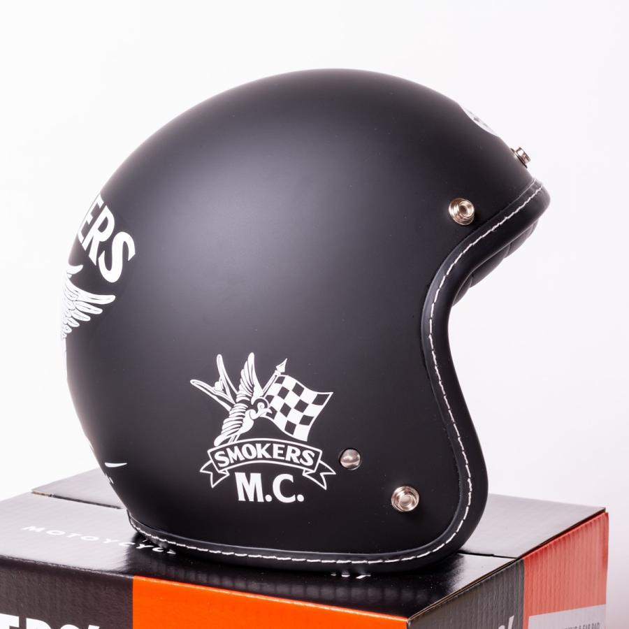 "SIRANO BROS. MOTORCYCLE EQUIPMENT - 3/4 OPEN FACE MOTORCYCLE HELMET ""SMOKERS M.C."" シラノブロス bk2bk 03"