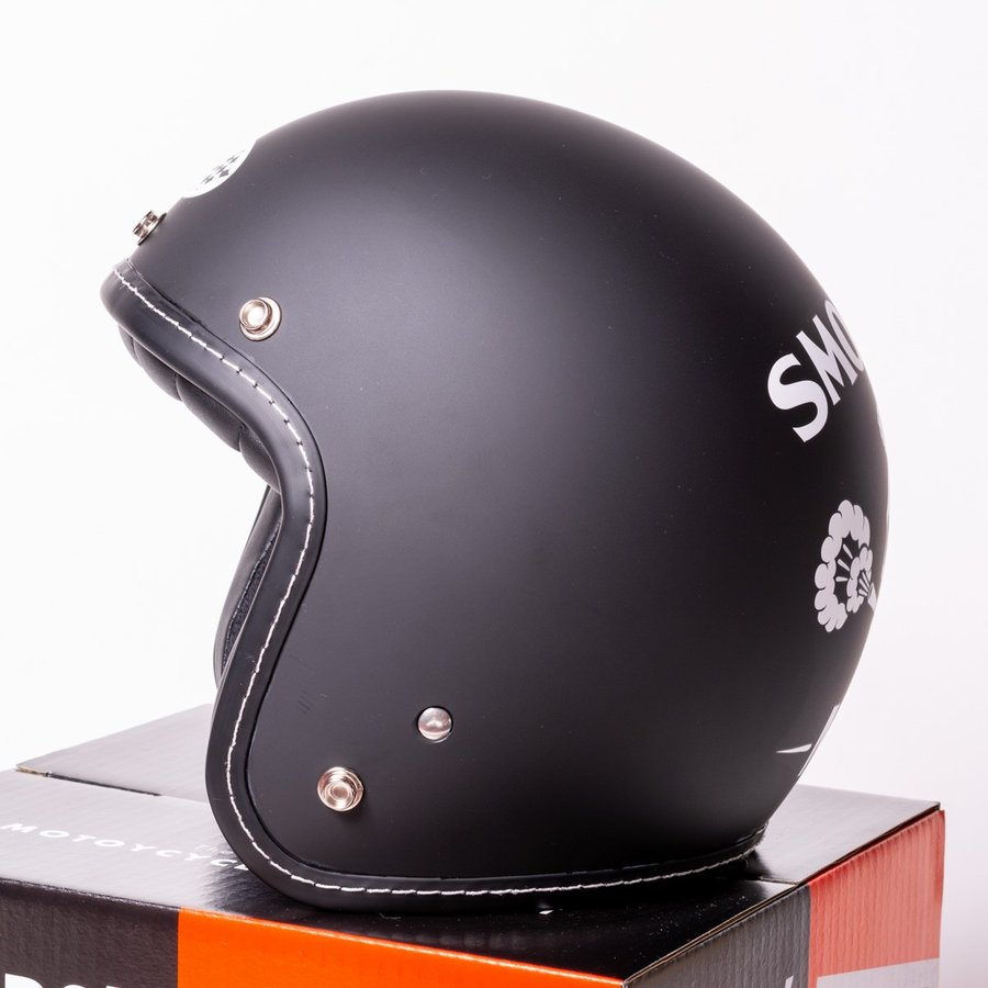 "SIRANO BROS. MOTORCYCLE EQUIPMENT - 3/4 OPEN FACE MOTORCYCLE HELMET ""SMOKERS M.C."" シラノブロス bk2bk 05"