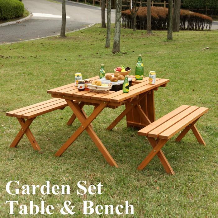 ガーデン テーブル セット ベンチ チェア 椅子 屋外 庭 天然木製 おしゃれ パラソル使用可 穴付き 北欧 杉材 3点 2脚 アウトドア レジャー テラス ベランダ