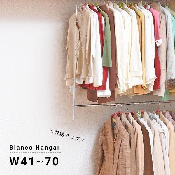 ブランコハンガー 収納アップハンガー 2段 衣類収納 ハンガーバー クローゼット ウォークイン 収納アップ 伸縮式 洋服 衣装 スチール ハンガーバー 押入れ 納戸 blanc-n