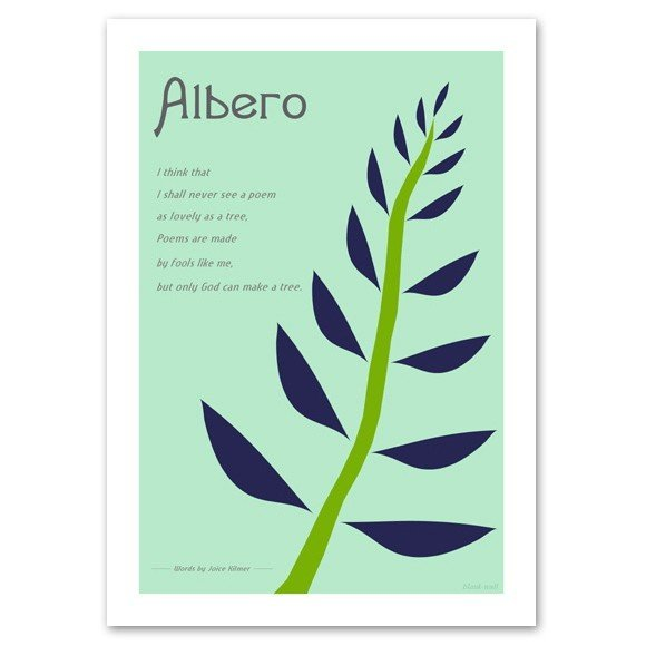 アートポスター 北欧スタイル A3サイズ 『Albero ブルー』 花,植物 インテリア おしゃれ Interior Art Poster|blankwall