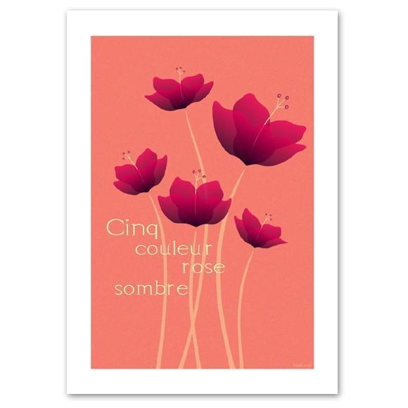 ポスター A2サイズ 『Cinq ピンク』 アート 花,植物 おしゃれポスター Interior Art Poster|blankwall