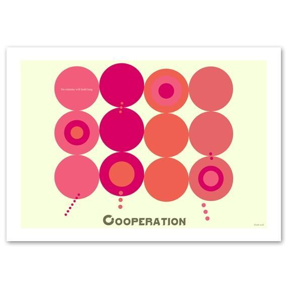 ポスター 北欧スタイル A2サイズ 『Cooperation ピンク 横タイプ』 おしゃれ インテリア ポップポスター Interior Art Poster blankwall