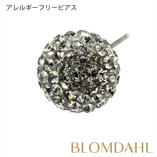 ピアス アレルギー対応 純チタン クリスタルボール 10mm ブラックダイヤモンド レディース 15-1270-12|blomdahljapan