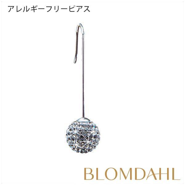 ピアス アレルギー対応 純チタン クリスタルボール ストレートペンダント ブラックダイヤモンド 12mm レディース 15-1297-12|blomdahljapan