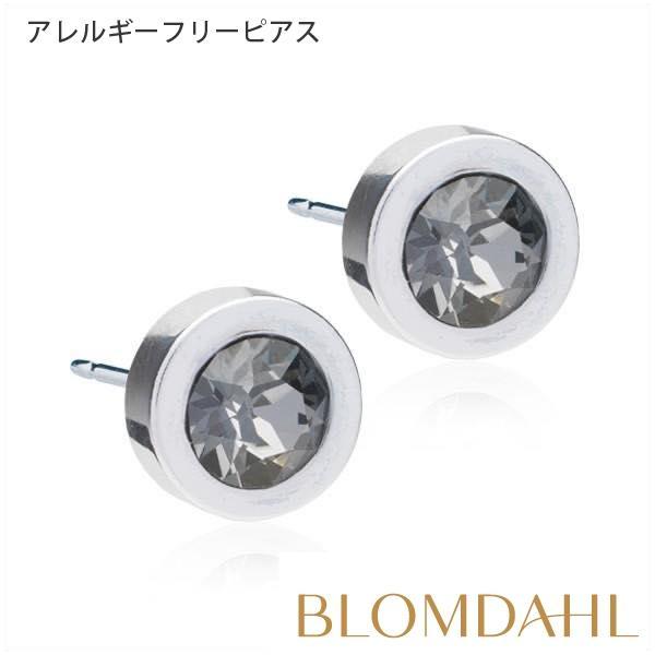 ピアス アレルギー対応 純チタン シルバー グランドべゼル 8mm ブラックダイヤモンド レディース 15-1412-12|blomdahljapan