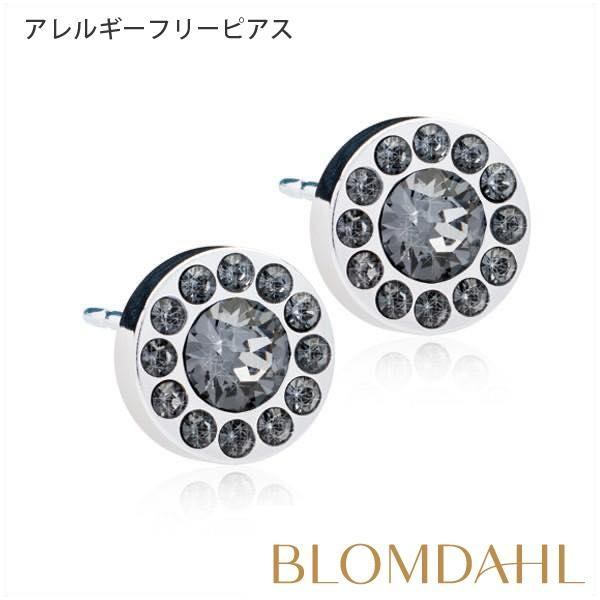 ピアス アレルギー対応 純チタン シルバー ブリリアンス ハロー ブラックダイヤモンド 8mm レディース 15-1465-12|blomdahljapan