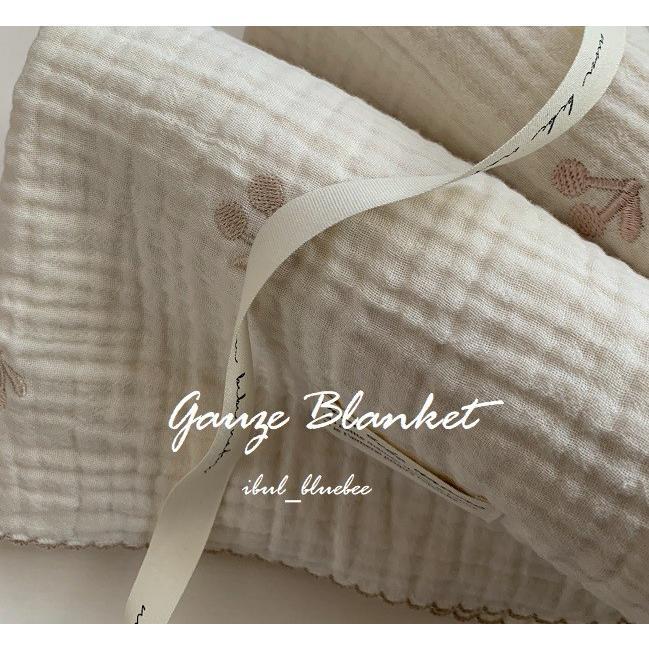 さくらんぼ刺繍 プレゼント 3重ガーゼ ブランケット 2color メール便 高級品 Sサイズ