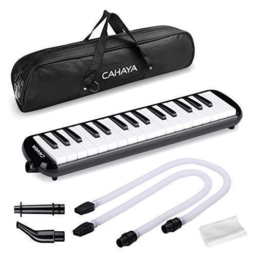 CAHAYA Melodica 鍵盤ハーモニカ 人気 32鍵 メロディー ピアノ 多功能 2×卓奏唄口 軽量 2×立奏唄口 ブラック 公式ショップ FDA認証取