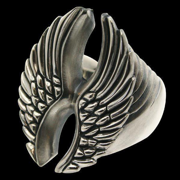 【逸品】 シルバーリング 指輪 刻印 羽のリング WINGS ウィングス 大 Blula ブルレ, アメリカンバース b3f03473